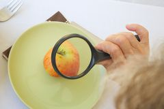 An old woman is observing an apple under a magnifying glass Royalty Free Stock Photo