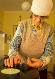 Old woman with the old gramophone Royalty Free Stock Photography