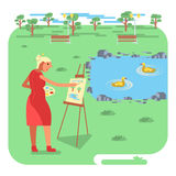 Old woman painting on canvas vector illustration