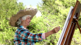 Old woman painting in the park stock video
