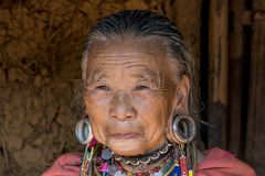 Palong Hill Tribe Woman, Northern Thailand. Old Woman from the Palong tribe with traditional Costume, Chiang Rai, Thailand, Asia stock images