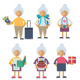 An old woman performing different actions Stock Photo