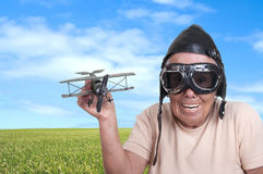 Old woman with a pilots hat and goggles Stock Photography