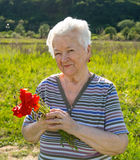 Old woman with poppies Royalty Free Stock Image