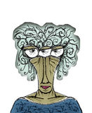 Old Woman Portrait Caricature Drawing Stock Photos