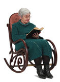 Old woman reading. A black book while sitting in a rocker, isolated against a white background Royalty Free Stock Images
