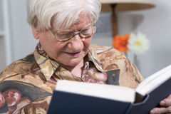 Old woman reading a book Royalty Free Stock Photos