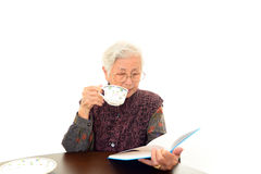 Old woman reading her book Royalty Free Stock Photography
