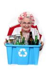 Old woman recycling Royalty Free Stock Image