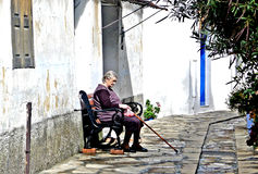 Old woman in Samos Greece stock photos