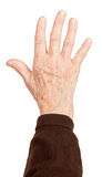 Old woman's hand on white background Stock Images