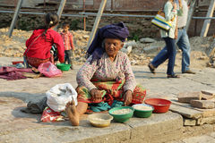 Free Old Woman Selling Corn In Front Of Durbar Square Of Kathmandu In Nepal Stock Image - 71332321