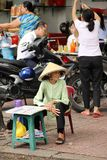 Lottery ticket seller, Ho Chi Minh City, Vietnam. Old woman selling lottery tickets, Ho Chi Minh City, Vietnam Royalty Free Stock Photo