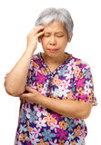 Old woman seriously headache Royalty Free Stock Photos