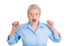 Old woman in shock Stock Photos