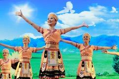 Old woman show taiwan gaoshan nationality dance Stock Image