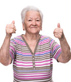 Old woman showing ok sign Stock Images