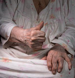 Old woman showing ok sign Royalty Free Stock Photography