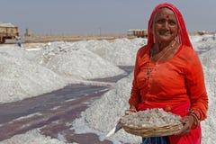 Old woman shows salt pieces at Sambhar Royalty Free Stock Photos