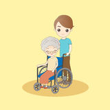 Old woman sit on wheelchair Royalty Free Stock Images
