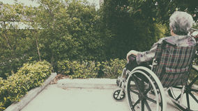 Old woman sitting alone in a wheelchair out in the garden. Stock Photo