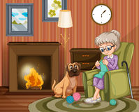 Old woman sitting knitting with dog besides. Illustration Stock Photo