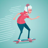 Old woman is skating. Grandma on a skate. Old woman in a pink sweatshirt are skating Royalty Free Stock Photography