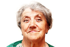Old woman smile face. On a white Royalty Free Stock Images