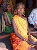 Old woman smokes a cheroot Stock Photo