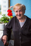 An old woman stands on her balcony. Happy. Stock Image