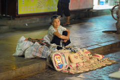 Old woman at street market in Xi'an Stock Image