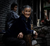 The old woman on the street Stock Photography