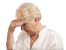 Old woman stress isolated Stock Photography
