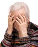 Old woman suffering from headache Stock Images