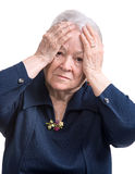 Old woman suffering from headache Royalty Free Stock Photos