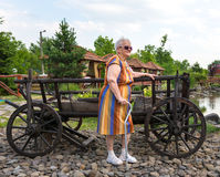 Old woman in summer park Royalty Free Stock Images