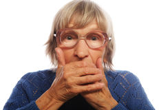 Old Woman with surprised expression Royalty Free Stock Images