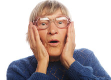 Old Woman with surprised expression Stock Image