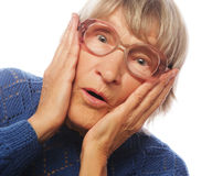 Old Woman with surprised expression Stock Images