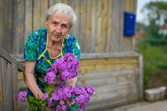 The old woman takes care of flowers Royalty Free Stock Photography