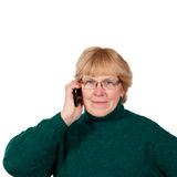 Old woman talking on phone Royalty Free Stock Photos