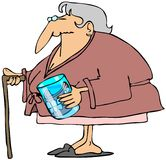 Old woman with teeth in a glass. This illustration depicts an old woman in a robe holding a glass containing her false teeth Stock Photography