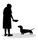 Old woman to feed her dachshund Stock Image