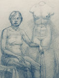 Old woman and torso Venus. Academical art. I am the author of this drawing Royalty Free Stock Image