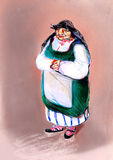 Old woman in traditional Eastern Europe clothes, drawing on paper Royalty Free Stock Image