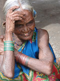 Old woman in a tribal village Stock Photography