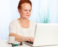 Old woman using internet Stock Image