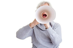 Old woman using a speaking tube Stock Photo