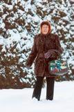 Old woman walking at winter park Stock Photo