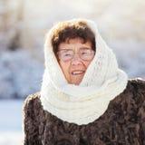 Old woman walking at winter park Royalty Free Stock Image